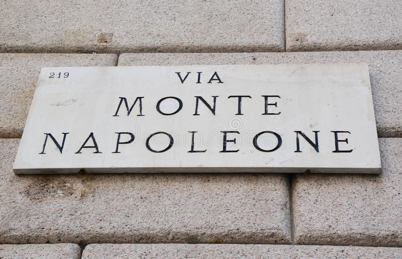 Via Monte Napoleone sign, famous street for fashion and luxury, Milan, Italy royalty free stock photography