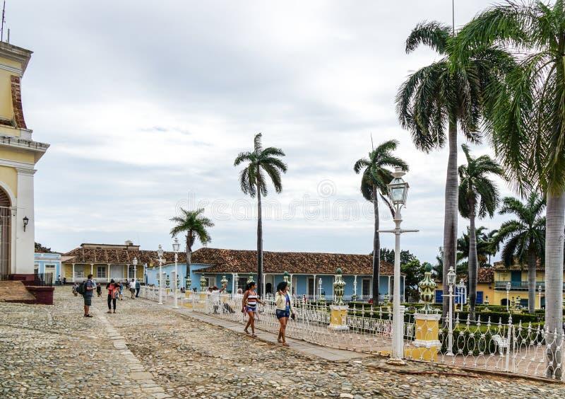 Via nel centro di Trinidad, Cuba fotografie stock libere da diritti