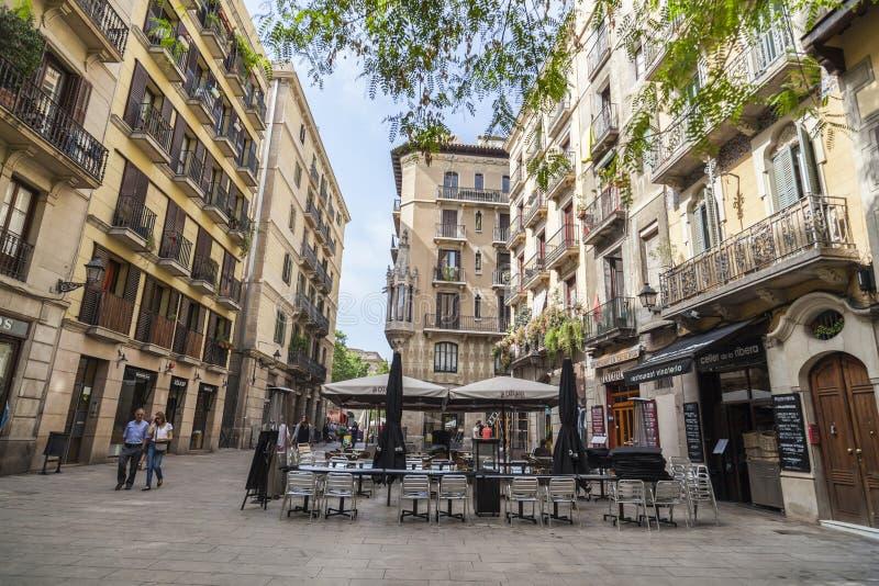 Via nel quarto sopportato EL, Barcellona fotografia stock libera da diritti