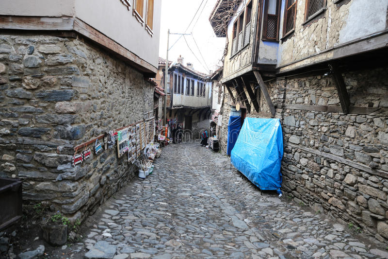 Via nel villaggio di Cumalikizik, Bursa, Turchia fotografie stock