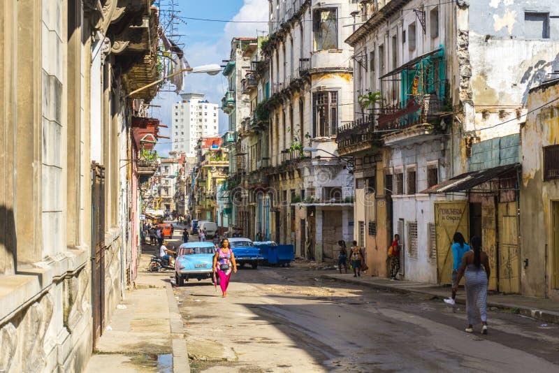 Via nella città di Avana, Cuba fotografia stock