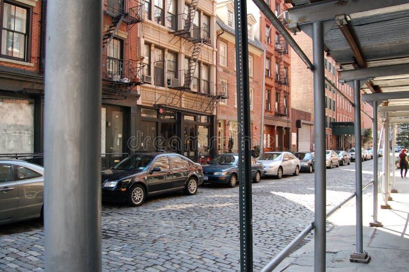 Via New York City del centro del Cobblestone immagine stock libera da diritti