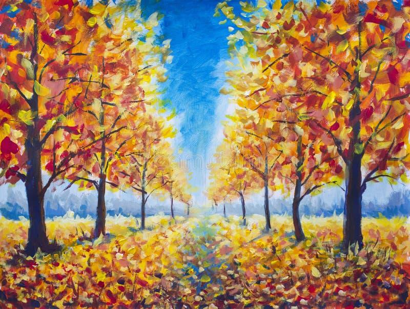 A via pública larga e urbanizada original do outono da pintura a óleo, árvores escuras do amarelo alaranjado do ouro no outono es fotos de stock royalty free