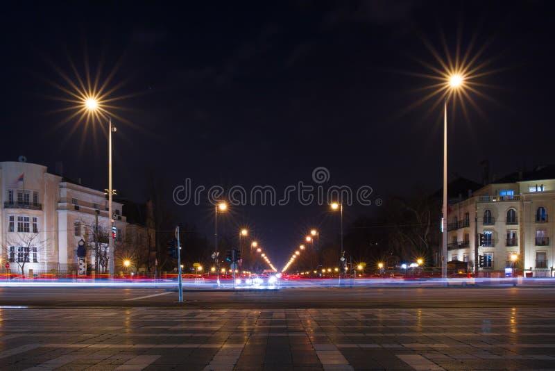 Via a partire dalla notte quadrata di eroi, Budapest di Andrassy fotografia stock libera da diritti