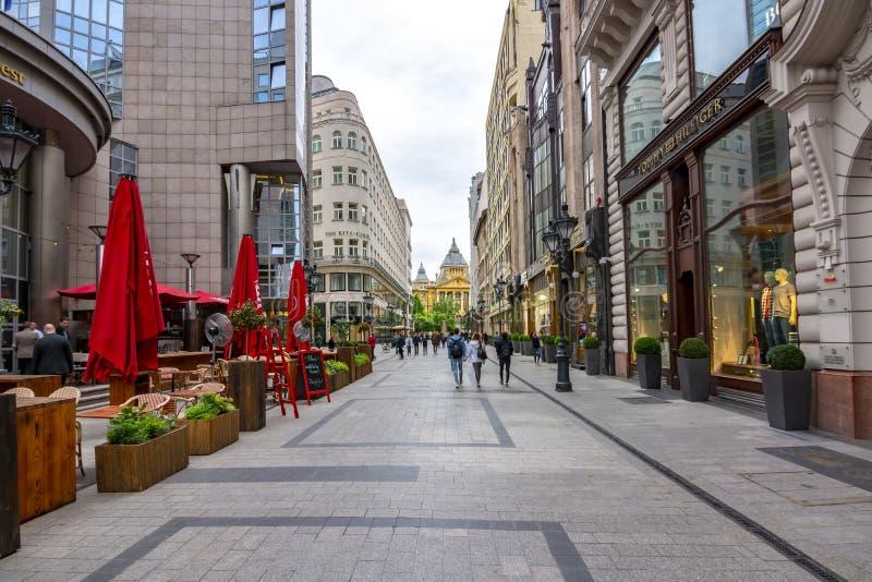 Via pedonale nel centro di Budapest, Ungheria fotografie stock