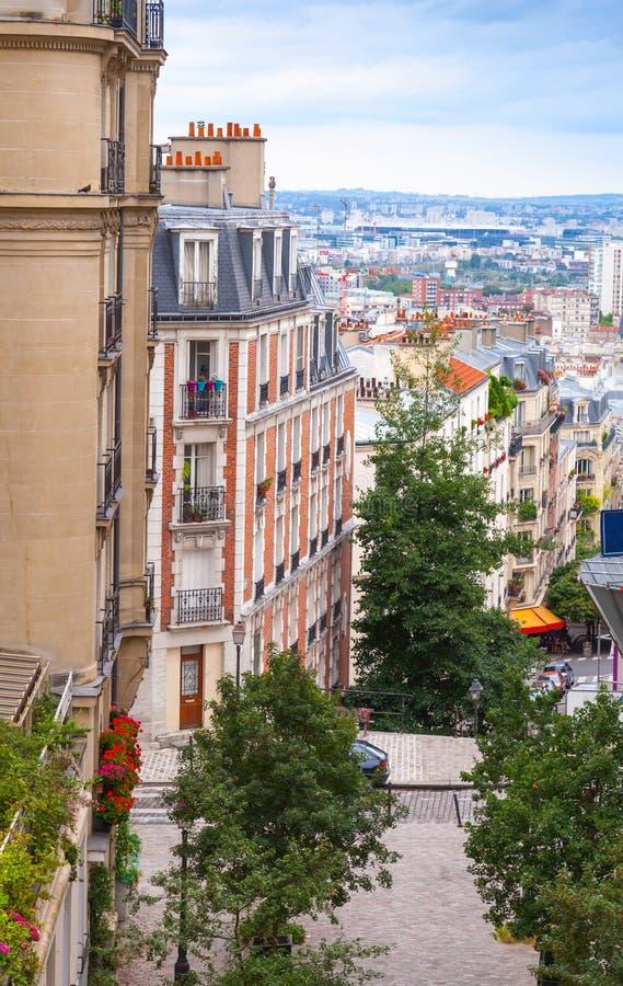 Via pedonale a Sacre-Coeur, Parigi, Francia fotografia stock libera da diritti