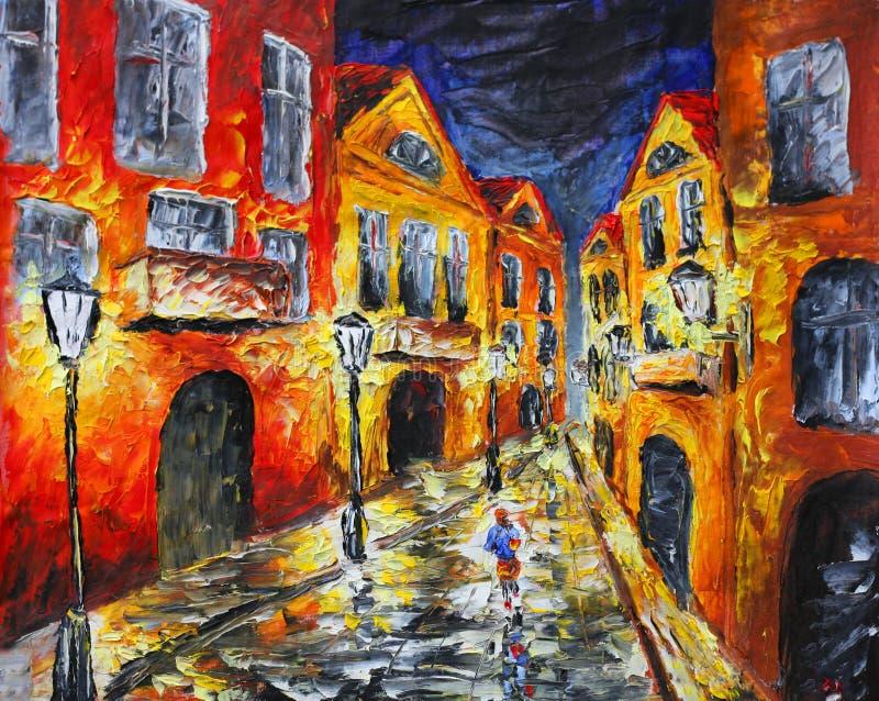 Via piovosa sola di notte Pittura a olio originale su tela di canapa illustrazione vettoriale