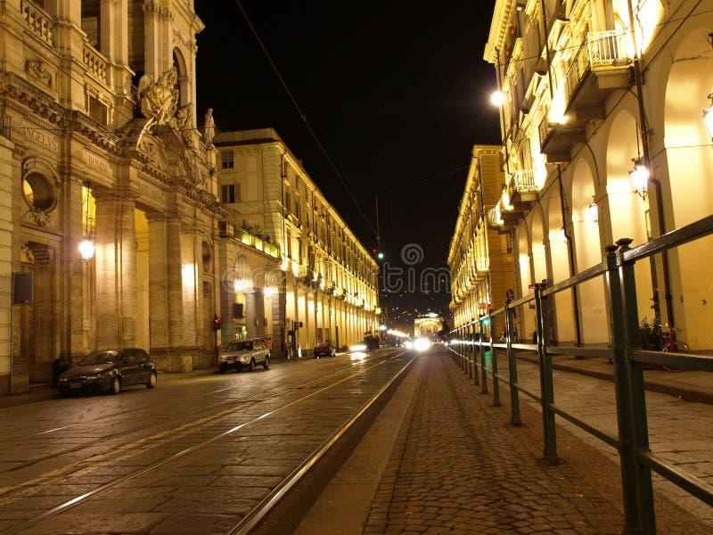 Via Po, Turin. Via Po, ancient central baroque street in Turin (Torino) - at night stock images