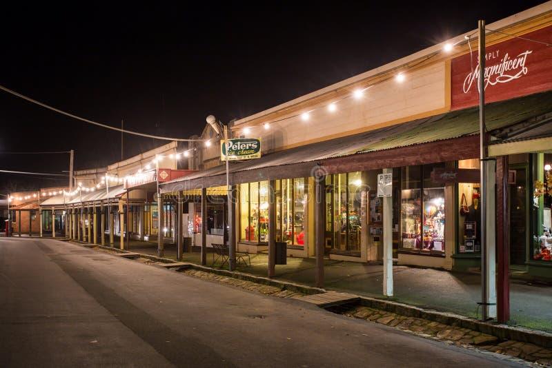 Via principale di Maldon alla notte immagini stock libere da diritti
