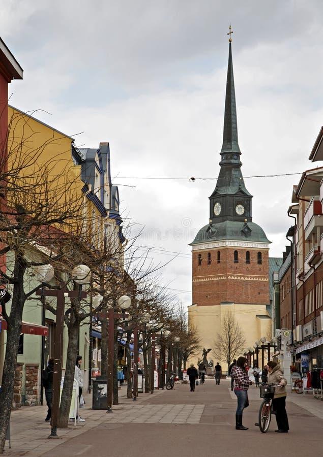Via principale in Mora sweden fotografie stock