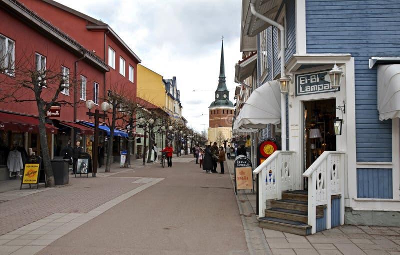 Via principale in Mora sweden fotografia stock libera da diritti