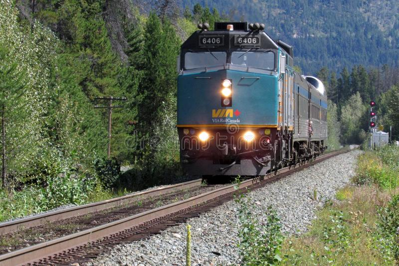 VIA Rail Canada Train. It is a good idea to take VIA Rail Canada train to tour Canada Rocky Mountain area royalty free stock images