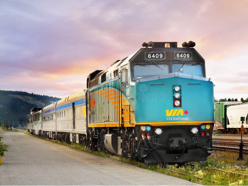Via Rail Canada Train. The Via Rail Canada train in Jasper Railway Station. Alberta Canada stock photos