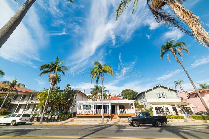 Via residenziale in Santa Barbara immagine stock