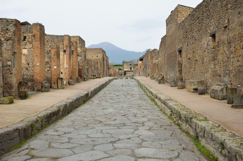Via ristabilita nella città antica Pompei immagine stock libera da diritti