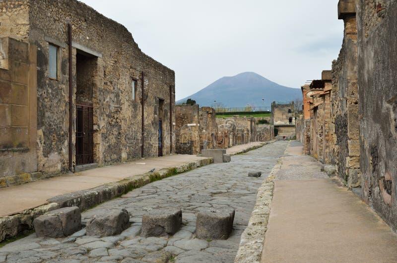 Via ristabilita nella città antica Pompei immagine stock