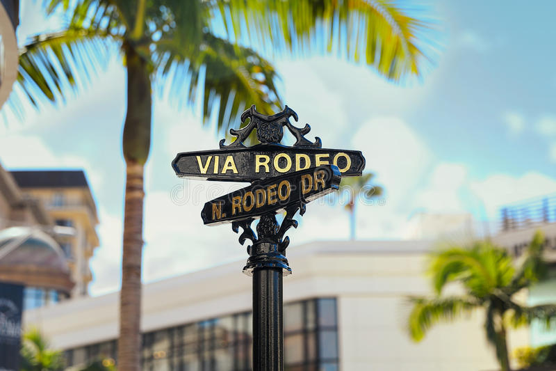 Via Rodeo, N. Rodeo Dr. Beverly Hills Sign royalty-vrije stock afbeeldingen