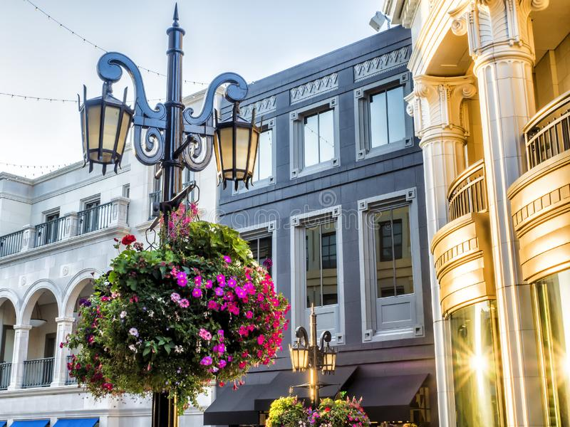 Via Rodeo, street lights and flowers - Rodeo Drive - Los Angeles, LA, California, CA royalty free stock photo