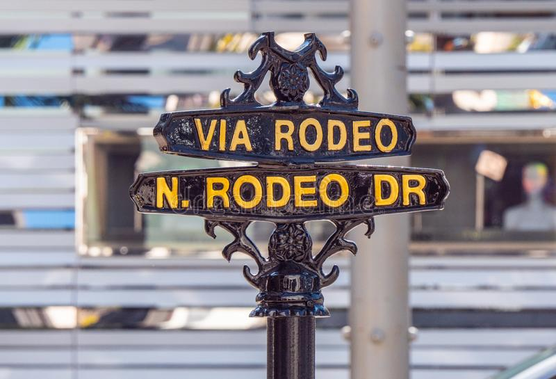 Via Rodeo street sign at Rodeo Drive in Beverly Hills - CALIFORNIA, USA - MARCH 18, 2019 royalty free stock photos