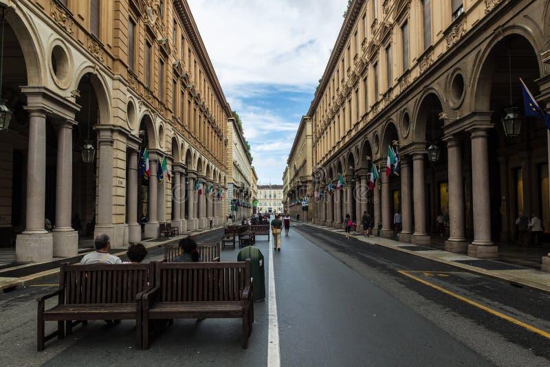 Via Rome, in Turijn, Italië stock afbeelding