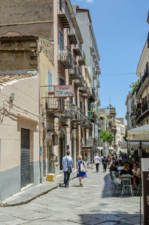 Via Sant `Anna, Palermo on a summer afternoon royalty free stock photo