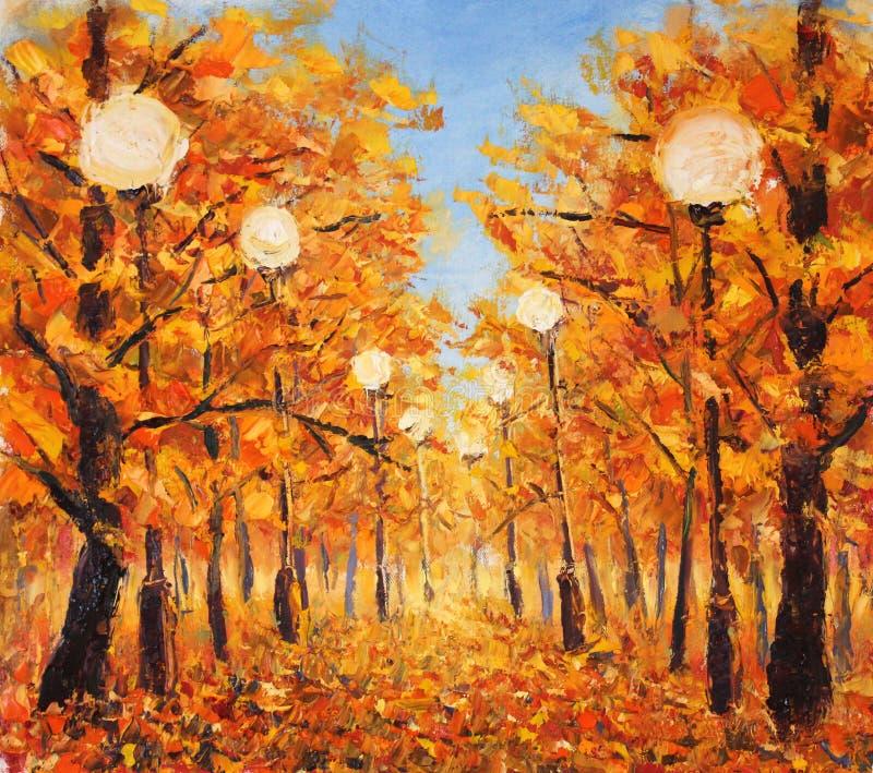 Via sparsa con le foglie gialle Alberi in autunno con i lampioni royalty illustrazione gratis