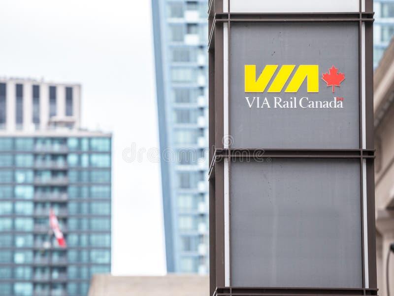 Via Spoorembleem voor Unie Post in Toronto, Ontario wordt genomen dat royalty-vrije stock afbeelding