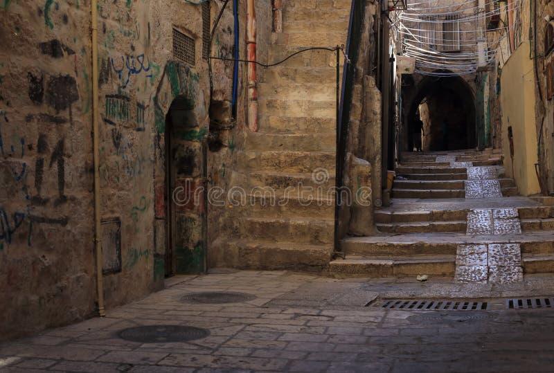 Via stretta a Gerusalemme quarta ebrea fotografia stock libera da diritti