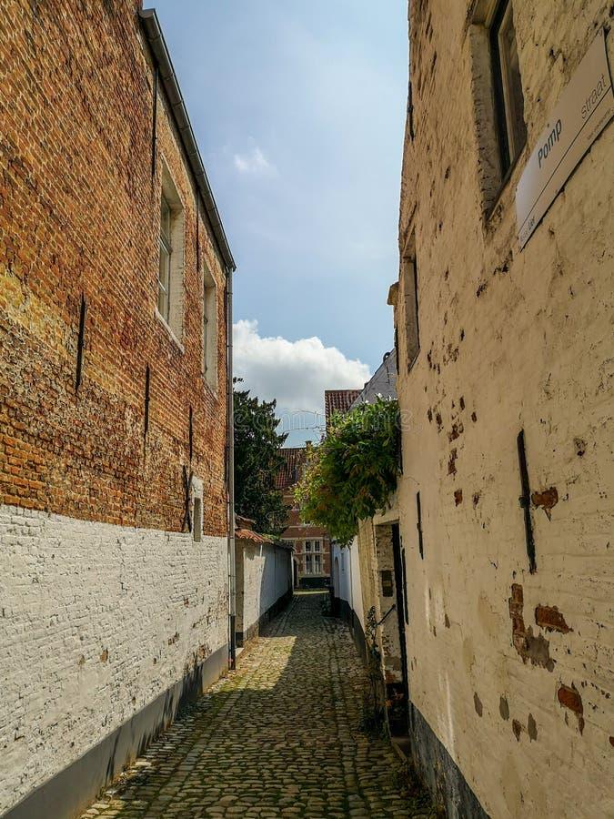 Via stretta nel beguinage protetto dell'Unesco nel centro urbano di Lier, Belgio fotografia stock libera da diritti