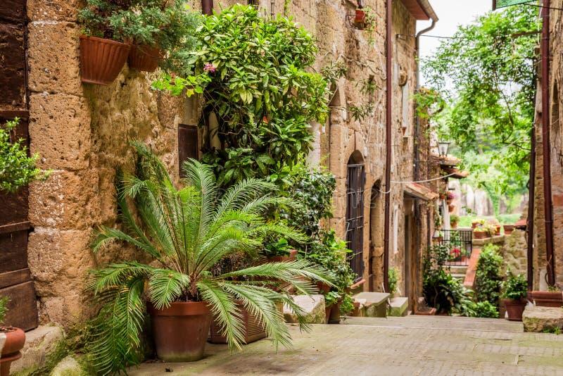 Via toscana nella città in pieno dei portici fioriti immagine stock libera da diritti