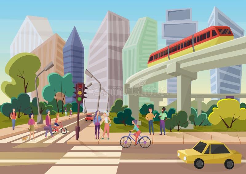 Via urbana moderna della città del fumetto con l'illustrazione di camminata di vettore dei giovani illustrazione di stock
