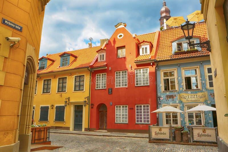 Via a vecchia Riga, Lettonia immagine stock