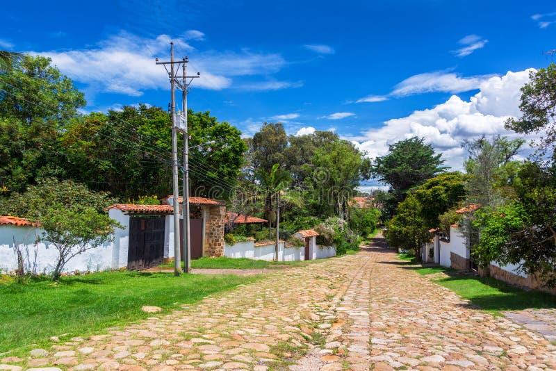 Via in Villa de Leyva fotografia stock libera da diritti