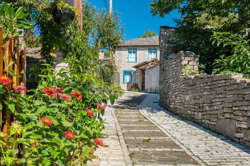 Via in villaggio di Monodendri Zagoria, Grecia immagine stock libera da diritti