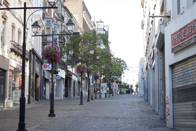 Via vuota a Charleroi immagini stock libere da diritti