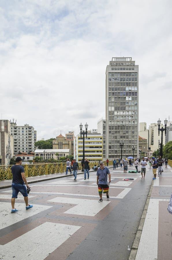 Viadotto di Santa Ifigenia, PS Brasile di Sao Paulo immagini stock