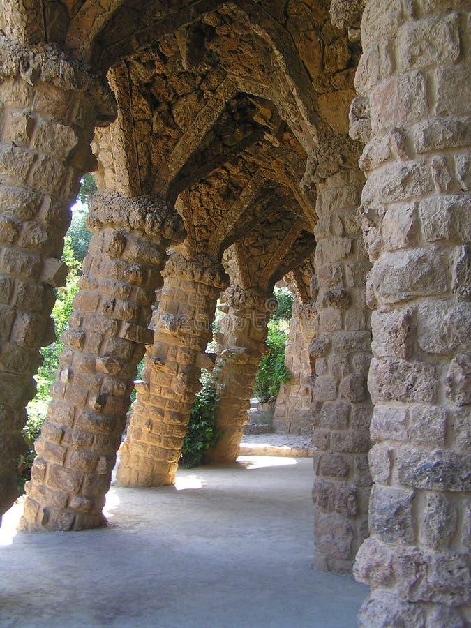 Viadotto in parco Guell fotografie stock libere da diritti
