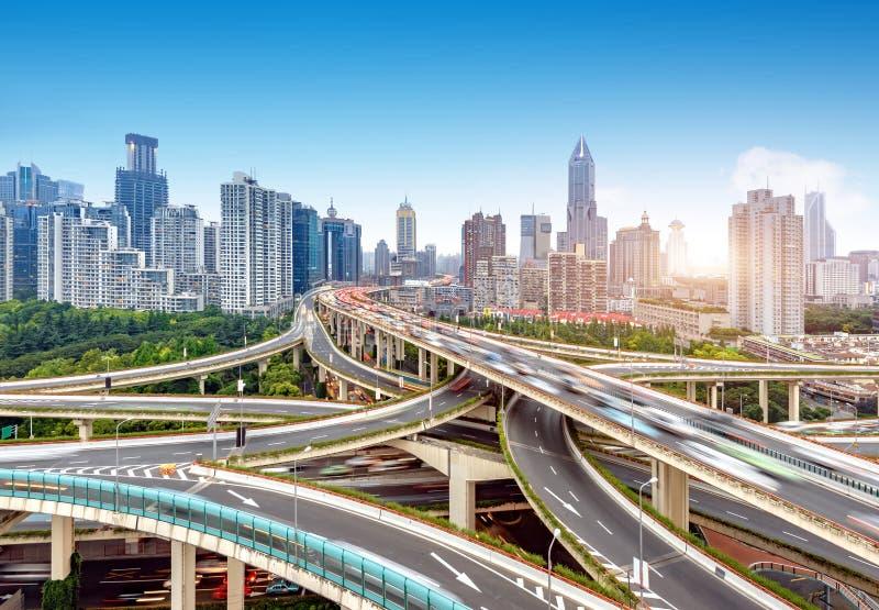 Viaduc à plusiers étages de Changhaï image stock