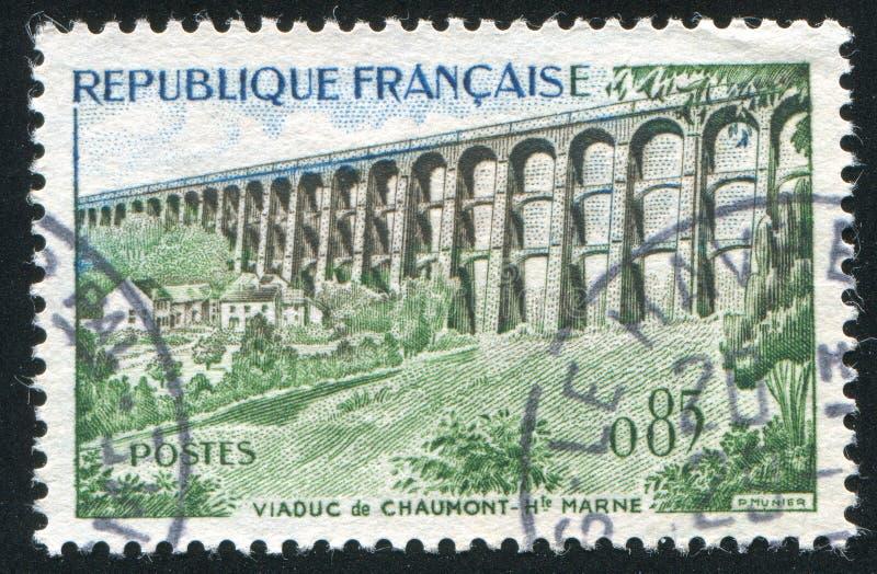 Viaduc. FRANCE - CIRCA 1960: stamp printed by France, shows Chaumont Viaduc, circa 1960 royalty free stock photo