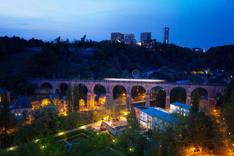 Download Viaduc (Passerelle) View At Night In Luxembourg Stock Image - Image: 43445943