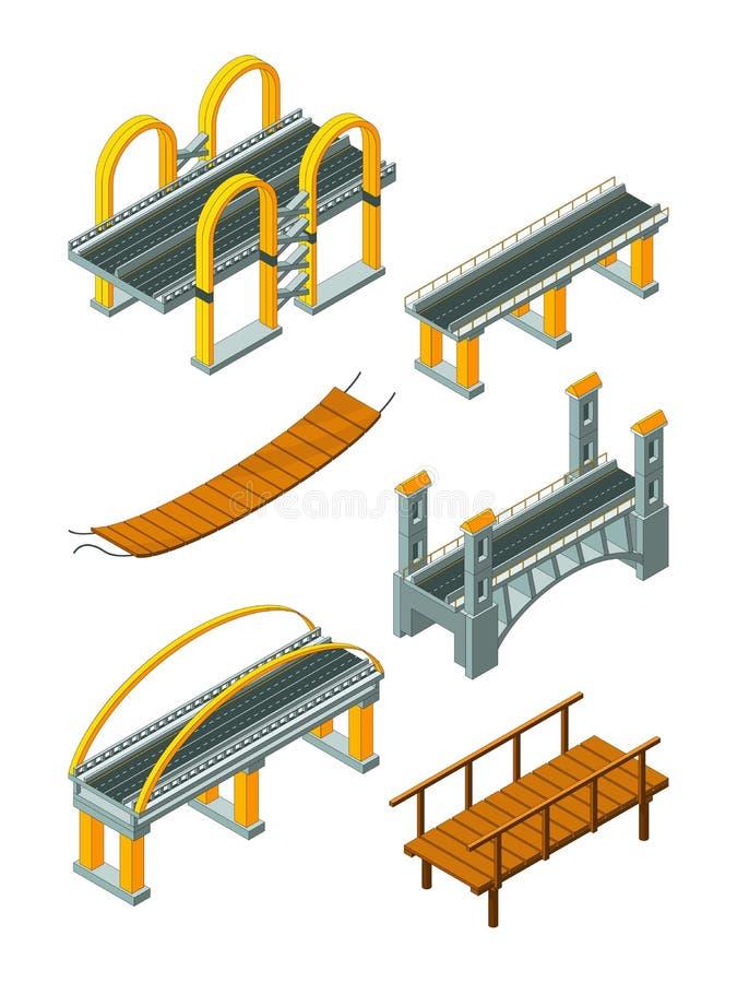 Viaduct bridge isometric. Wood support crossing river or highway logging industry vector urban landscape stock illustration