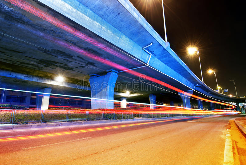 Viaduct And Light Track Stock Photography