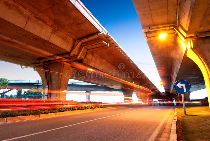 Viaduct And Light Track Royalty Free Stock Photos