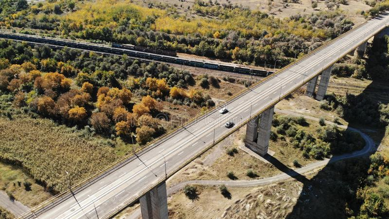 Viaduct - 300m height Galati Romania. Created by dji Mavic Air Road overview - Viaduct - 300m height Galati Romania Transportation royalty free stock photos