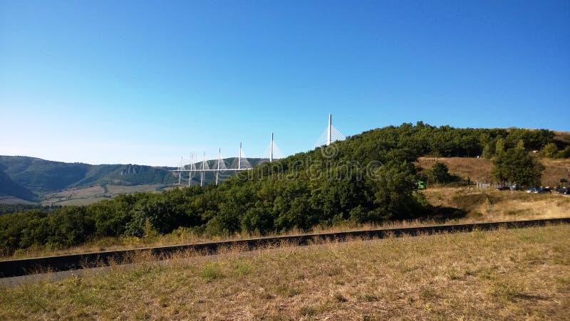 Viaduct of Millau i Aveyron royaltyfria bilder