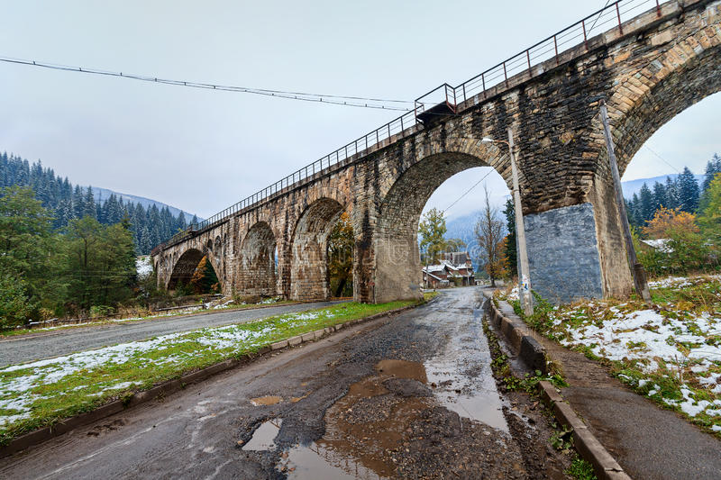 Viaduct was built during the Austro-Hungarian empire. In the village of Vorokhta, Ukraine royalty free stock image