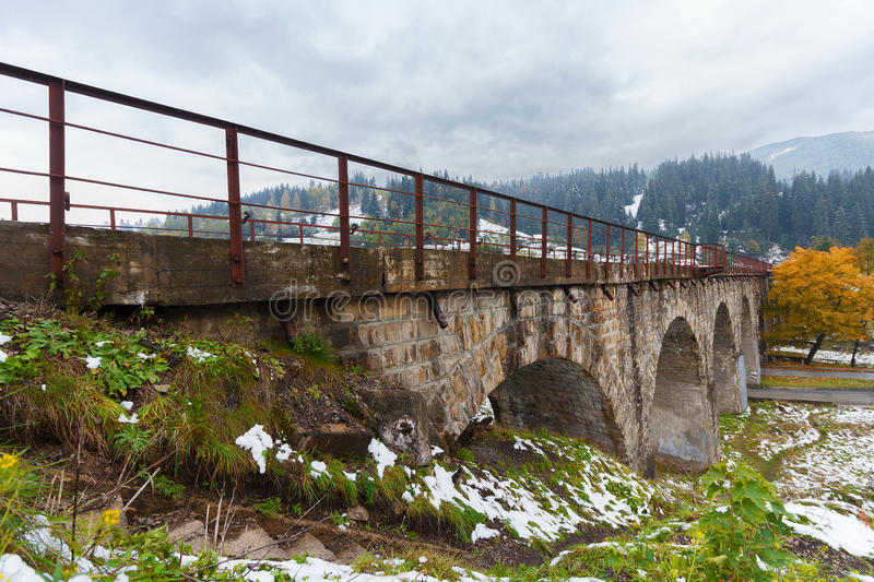 Viaduct was built during the Austro-Hungarian empire in the village of Vorokhta. Ukraine royalty free stock image