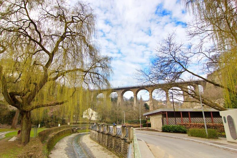 Viaductbrug in Luxemburg royalty-vrije stock foto