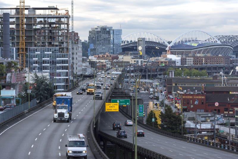 Viaducto de Alaska de la manera en Seattle foto de archivo libre de regalías