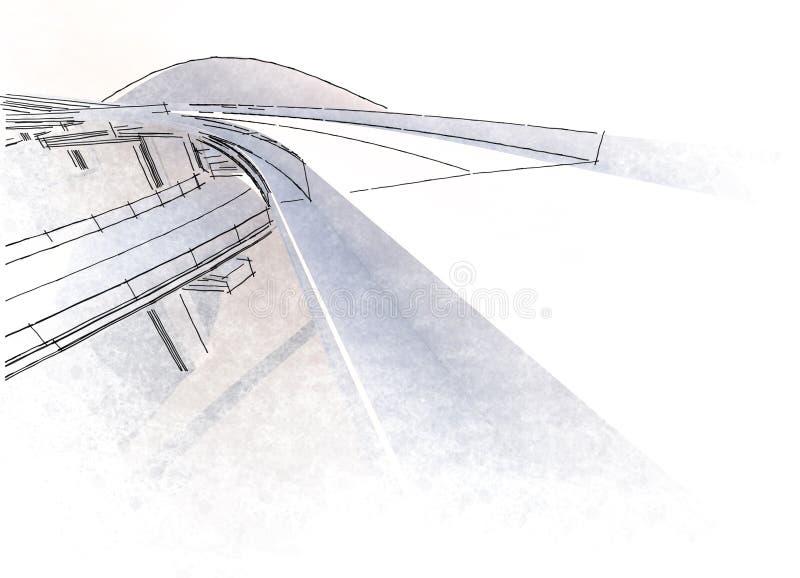 Viaducto del dibujo foto de archivo libre de regalías